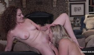 MILF hotties Mandy and Nikki masturbating and licking on the pool table
