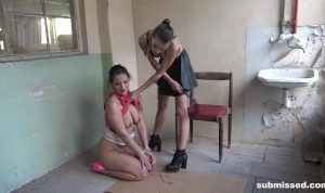 Humiliated Slave in Lesbian Domination Session