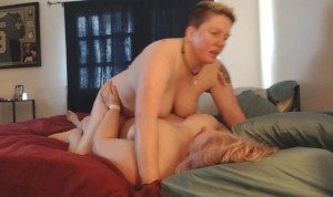 Ali riding huge strap-on and ass fingered, face sitting cum swapping