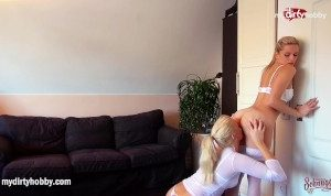 MyDirtyHobby – Horny blonde Milfs almost caught in lesbian act