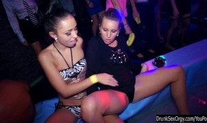 Party lesbians have fun in public