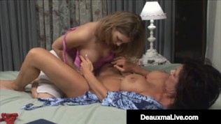 Busty Mature Muff Diver Deauxma Pleases Hot Younger Girl's Tight Pussy!