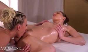 Massage Rooms Two sexy euro babes erotic massage lesbian pussy eating and scissoring