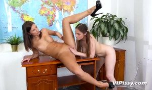 Classroom Piss Session For Naughty Lesbians