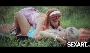 Sexy redhead with big natural tits rides her girlfriend's face