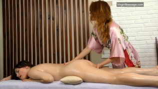 Virgin lesbian massage with two beauties