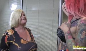 British mature star enjoying striptease and sex with lesbian friend