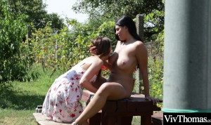 Beautiful lesbians lick each other pussies outdoor