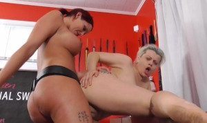 Dildo fucking of two lesbian big titted porn star