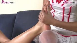 Lesbian nurse pantyhose foot massage