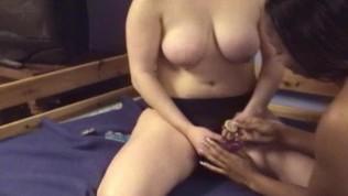 Black girl bounces on strapon in amateur lesbian scene – Mavenhouse