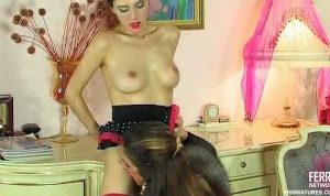 Lesbian Madame kissing with her maid