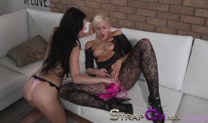 StrapOn Angelic looking blonde fucks her sexy GF with vibrator